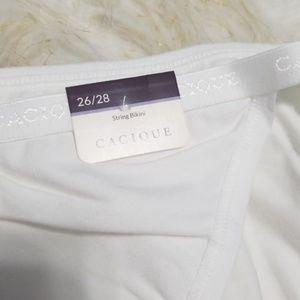 Sz 26/28 Panties Cacique String Bikini White NWT